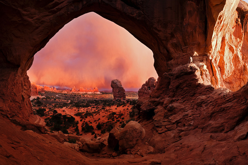 Sunset, Triple Arch, Arches NP, Utah