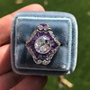 2.27ct (est) Art Deco Old European Cut Diamond with Amethyst Halo Ring 22