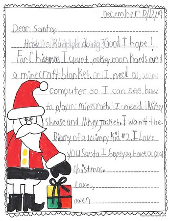 Ms. Chapin's 2nd Grade Letters to Santa, 12/13/2019