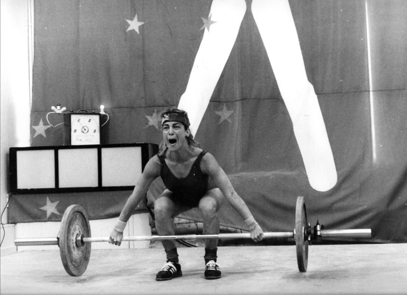 """Rachel, The notorious """"Snatch Queen"""" in action at the SF Sports Palace, circa 1984-6"""