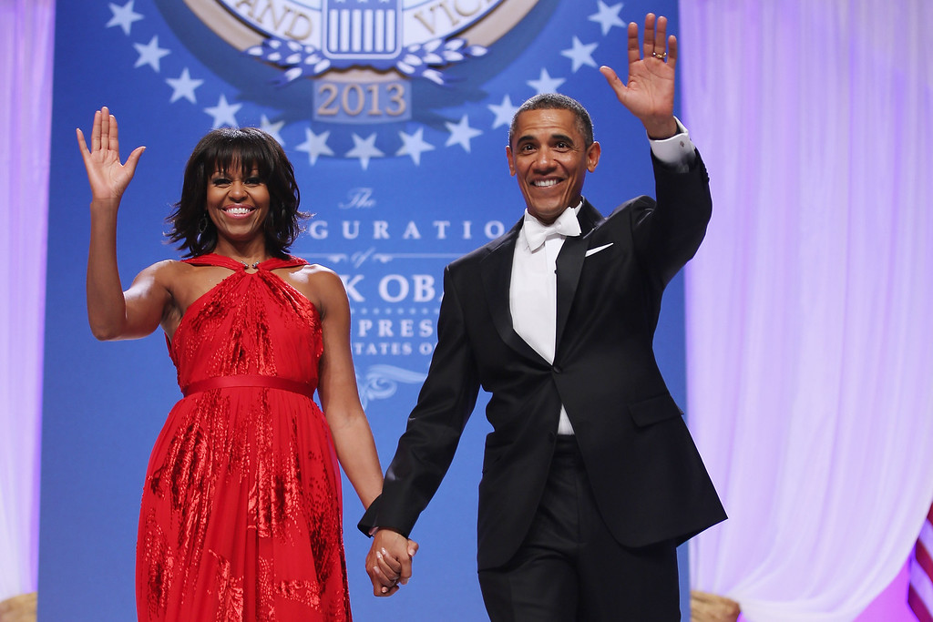 . WASHINGTON, DC - JANUARY 21:  U.S. President Barack Obama and first lady Michelle Obama arrive for the Comander-in-Chief\'s Inaugural Ball at the Walter Washington Convention Center January 21, 2013 in Washington, DC. Obama was sworn-in for his second term of office earlier in the day.  (Photo by Chip Somodevilla/Getty Images)