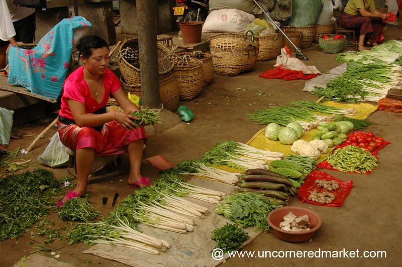 Vegetable Vendor, Gasa Market - Xishuangbanna, China