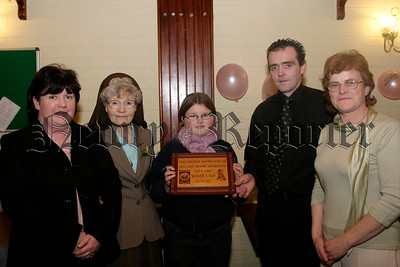 Pictured at the launch of Special Needs children  into Main Stream youth, at Mayobridge youth club L-R, Rita Mc Polin (treasurer), Mother Attracta (who unveiled the plaque to offically open the club), Siofra Kane (buddy group),Nial Brady (youth club), and Josephine O'Hare (chairperson).  05W13N61.