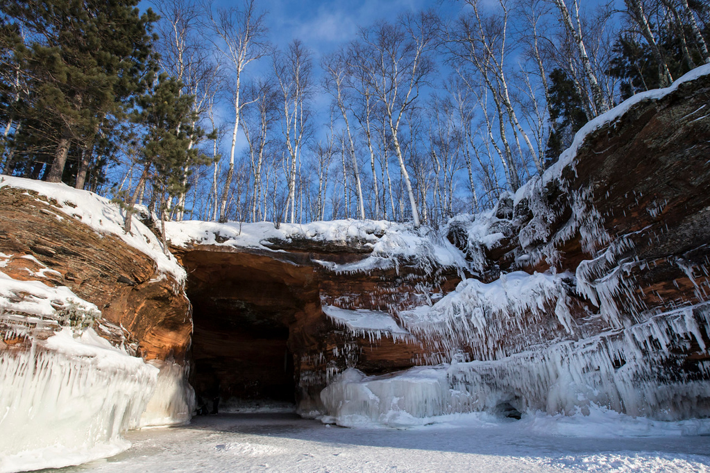 . A large cave on the side of an icy Lake Superior cliff. In January, the mainland sea caves of the Apostle Islands National Lakeshore officially opened to the public for the first time since 2009. (Pioneer Press: Andy Rathbun)
