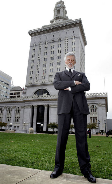 Ronald V. Dellums, former long-time U.S. Congressman representing Berkeley and Oakland, is the mayor-elect of Oakland and will be sworn in in early January.  He is standing in Frank Ogawa Plaza in downtown Oakland next to City Hall.  Silicon Valley-San Jose Business Journal/Dino Vournas