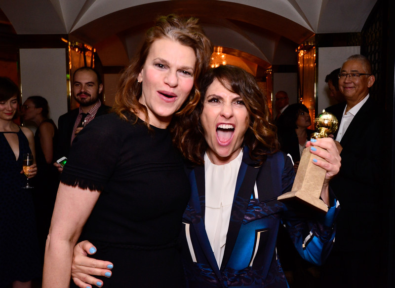 ". Comedian Sandra Bernhard (L) and show creator/director Jill Soloway attend the ""Transparent\"" Cast and Crew Golden Globes Viewing Party at The London West Hollywood on January 11, 2015 in West Hollywood, California.  (Photo by Jerod Harris/Getty Images for Amazon Studios)"