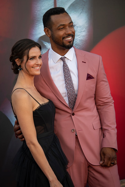 """WESTWOOD, CA - AUGUST 26: Isaiah Mustafa and Lisa Mitchell attend the Premiere Of Warner Bros. Pictures' """"It Chapter Two"""" at Regency Village Theatre on Monday, August 26, 2019 in Westwood, California. (Photo by Tom Sorensen/Moovieboy Pictures)"""