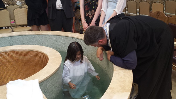 Community Life - First Baptism in Adult Font - August 9, 2014