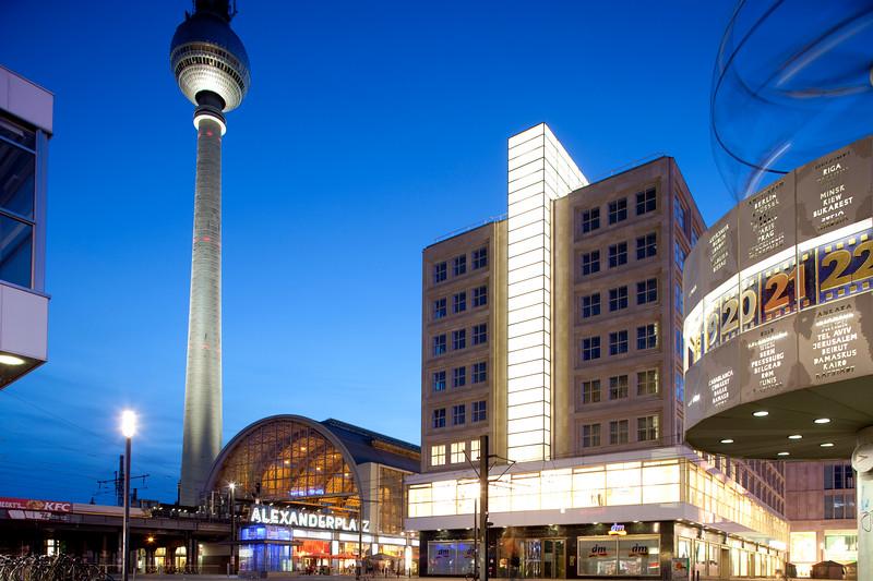 Alexanderplatz by night, Berlin, Germany