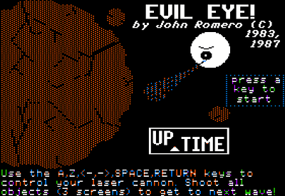 My quickly cobbled-together title screen when UpTime told me they wanted it.  About 30 minutes of MousePaint later and whammo - it is born.  It is analogous with the big shape on the left.