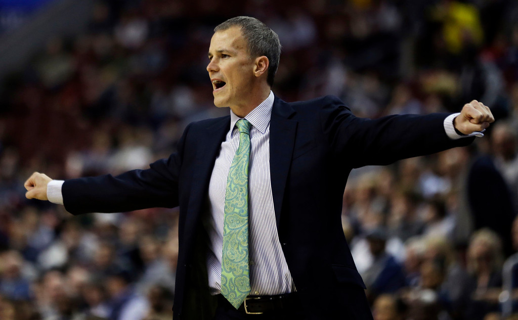 . Florida Gulf Coast head coach Andy Enfield reacts during the first half of a second-round game against Georgetown during the NCAA college basketball tournament on Friday, March 22, 2013, in Philadelphia. (AP Photo/Matt Rourke)