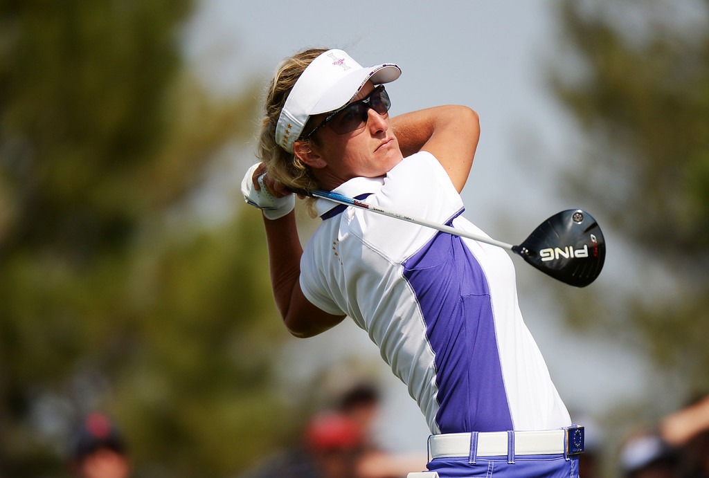 . PARKER, CO. - August 16: Giulia Sergas of team Europe is watching her ball from 10th tee ground during 2013 Solheim Cup at Colorado Golf Club. Parker, Colorado. August 16, 2013. (Photo By Hyoung Chang/The Denver Post)