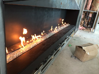Custom 8ft linear fireplace South Beach, FL