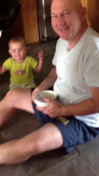 Dad and Lilly having breakfast