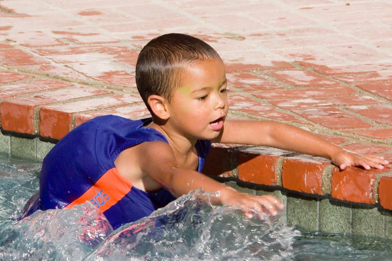 Jayden enjoys the pool