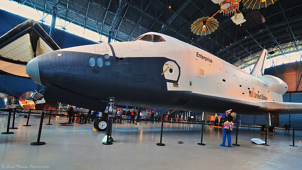 Space Shuttle Enterprise in the James S. McDonnell Space Hanger of the Steven F. Udvar-Hazy Center near Washington Dulles International Airport.