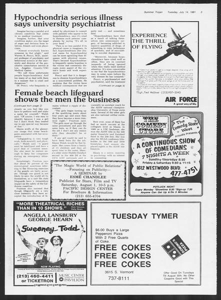 Summer Trojan, Vol. 90, No. 8, July 14, 1981