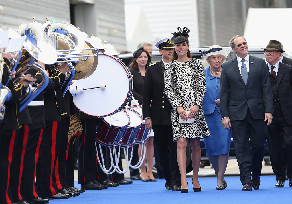 . (L-R) Captain Tony Draper, Catherine, Duchess of Cambridge and  President and CEO of Princess Cruises Alan Buckelew  arrive for the Princess Cruises ship naming ceremony at Ocean Terminal on June 13, 2013 in Southampton, England.  (Photo by Chris Jackson- WPA Pool/Getty Images)
