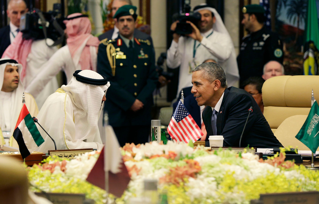 . President Barack Obama, seated right, speaks with Abu Dhabi�s Crown Prince Sheikh Mohamed bin Zayed Al Nahyan, during a Gulf Cooperation Council session during the Gulf Cooperation Council Summit in Riyadh, Saudi Arabia, Thursday, April 21, 2016. The president is on a weeklong trip to strategize with his counterparts in Saudi Arabia, England and Germany on a broad range of issues with efforts to rein in the Islamic State group being the common denominator in all three stops. (AP Photo/Carolyn Kaster)