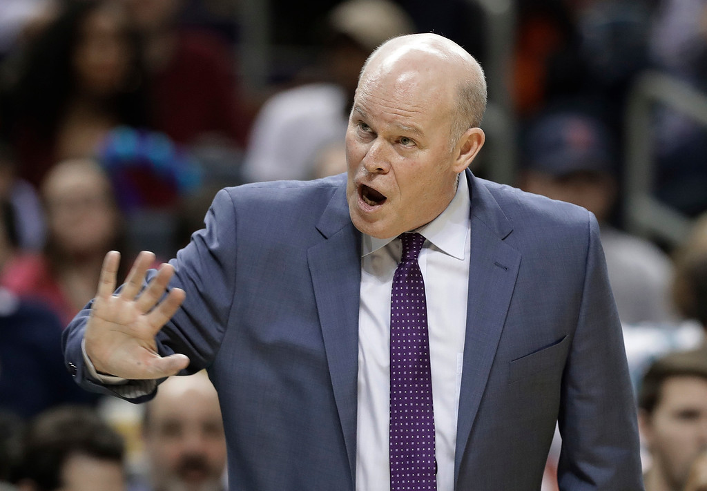 . Charlotte Hornets coach Steve Clifford reacts to a call during the second half of the team\'s NBA basketball game against the Cleveland Cavaliers in Charlotte, N.C., Wednesday, March 28, 2018. (AP Photo/Chuck Burton)