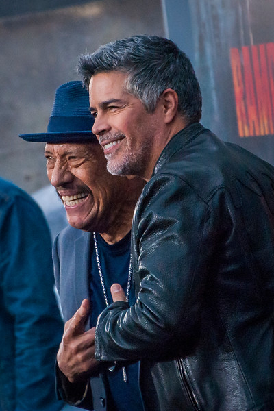 LOS ANGELES, CA - APRIL 04: Danny Trejo and Esai Morales arrive at the Premiere Of Warner Bros. Pictures' 'Rampage' at Microsoft Theater on Wednesday April 4, 2018 in Los Angeles, California. (Photo by Tom Sorensen/Moovieboy Pictures)