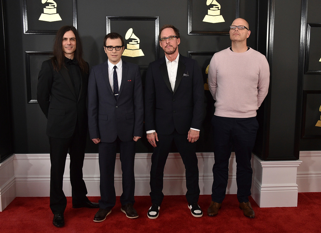 . Brian Bell, from left, Rivers Cuomo, Scott Shriner, and Patrick Wilson of the musical group Weezer arrive at the 59th annual Grammy Awards at the Staples Center on Sunday, Feb. 12, 2017, in Los Angeles. (Photo by Jordan Strauss/Invision/AP)