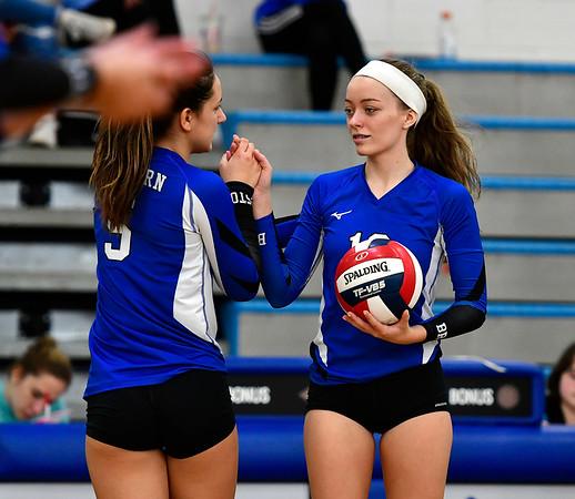 11/10/2018 Mike Orazzi   Staff Bristol Eastern's Brooke Dorsio (5) and Amber Blais (19) during the Class L Quarterfinal Girls Volleyball Tournament in Bristol Saturday.