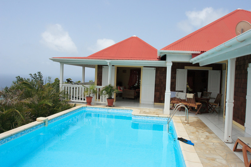 VILLA Villa Anais, aka SIB AIA In Vitet, at the center of the eastern half of St. Barts, offers guests spectacular views of Grand Cul de Sac, Petit Cul de Sac, and St. Martin.