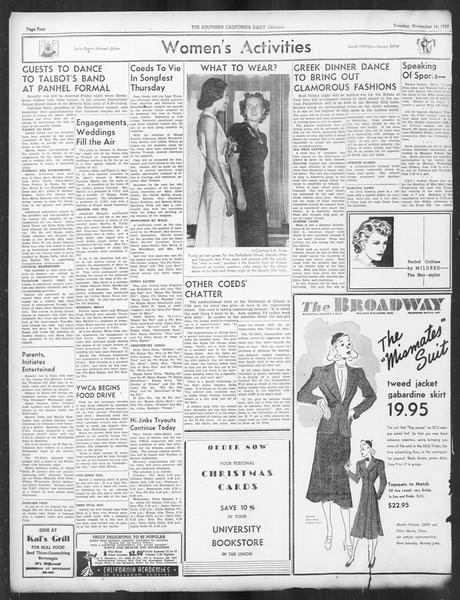 Daily Trojan, Vol. 29, No. 41, November 16, 1937