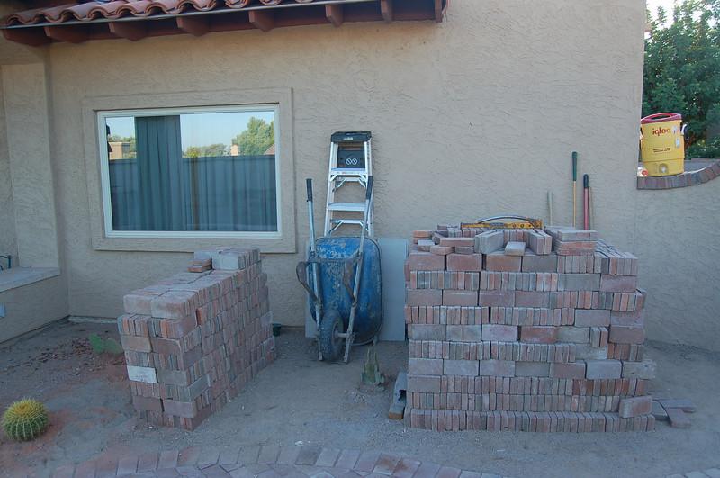 Piles and piles of bricks.
