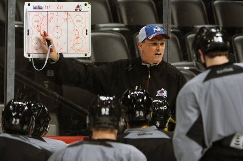 . Colorado Avalanche coach Tim Army goes game plans during practice January  17th, 2013. The Colorado Avalanche hit the ice for the first time this season at the Pepsi Center.  After long months of contract negotiations the season has finally started. Helen H. Richardson, The Denver Post