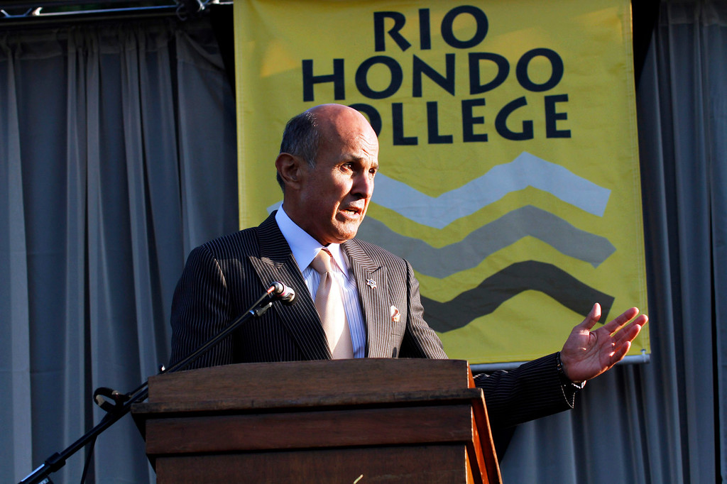 """. Sheriff Leroy \""""Lee\"""" Baca, of the Los Angeles County Sheriff\'s Department, gives the Commencement Address, during Rio Hondo College\'s 50th Annaul 2013 Commencement Ceremony, on the Rio Hondo College Soccer Field, in Whittier, Thursday, May 23, 2013. (Correspondent Photo by James Carbone/SWCITY)"""