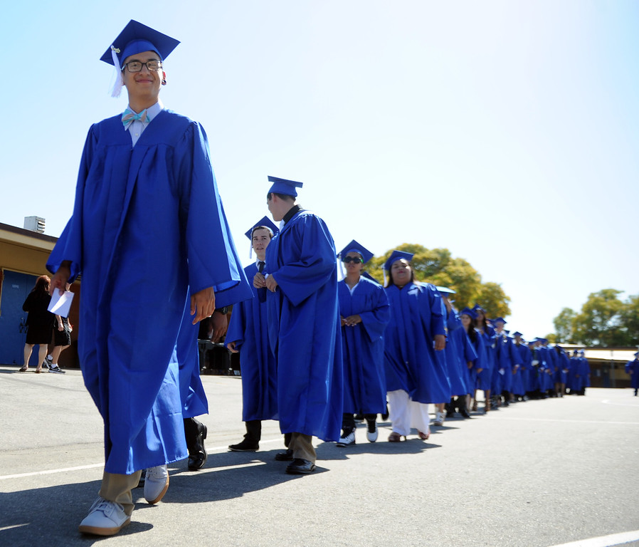 . Students walk in the processional during the El Camino High School commencement at El Camino High School on Wednesday, June 19, 2013 in Whittier, Calif.  (Keith Birmingham/Pasadena Star-News)