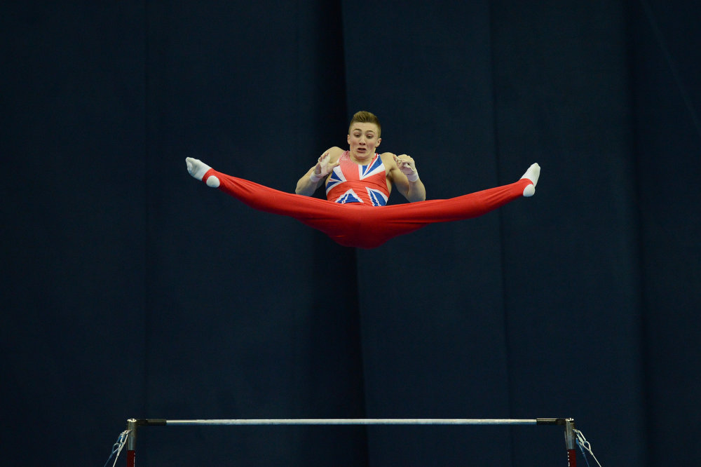 . Great Britain\'s Sam Oldham competes on the horizontal bar in the men\'s apparatus artistic gymnastics finals during the 5th European Men and Women Artistic Gymnastic Individual Championships in Moscow on April 21, 2013. Russia\'s Emin Gabirov took the first place ahead of Oldham, second, and Belarus\' Aliaksandr Tsarevich, third. NATALIA KOLESNIKOVA/AFP/Getty Images