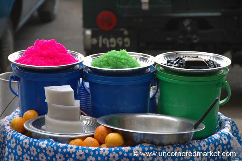 Burmese Food, Colorful Desserts - Mandalay, Burma