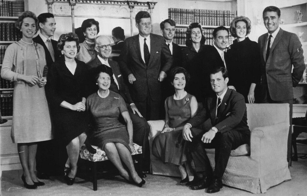 . The Kennedy family gathers for a portrait on Nov. 9, 1960, in Hyannis, Mass., after John F. Kennedy was elected president.  Standing from left, are, Mrs. Bob Kennedy, Steve Smith and wife Jean Kennedy, President John F. Kennedy, Bob Kennedy, daughters Patricia Lawford, Sargent Shriver, Joseph P. Kennedy with wife seated in front of him, Mrs. John F. Kennedy and Ted Kennedy.  Denver Post file