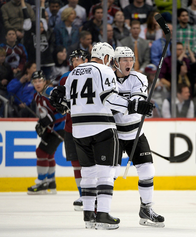 . Los Angeles Kings defenseman Robyn Regehr (44) celebrates his first period goal with Los Angeles Kings center Tyler Toffoli (73) against the Colorado Avalanche February 27, 2014 at Pepsi Center. (Photo by John Leyba/The Denver Post)