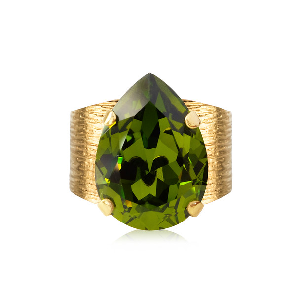 Classic Drop Ring / Olivine Gold