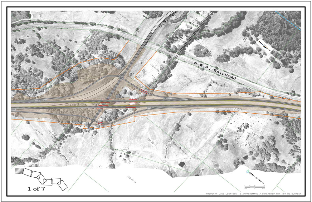 Description of . Southern interchange for the Willits bypass. CalTrans drawing of Willits bypass project.