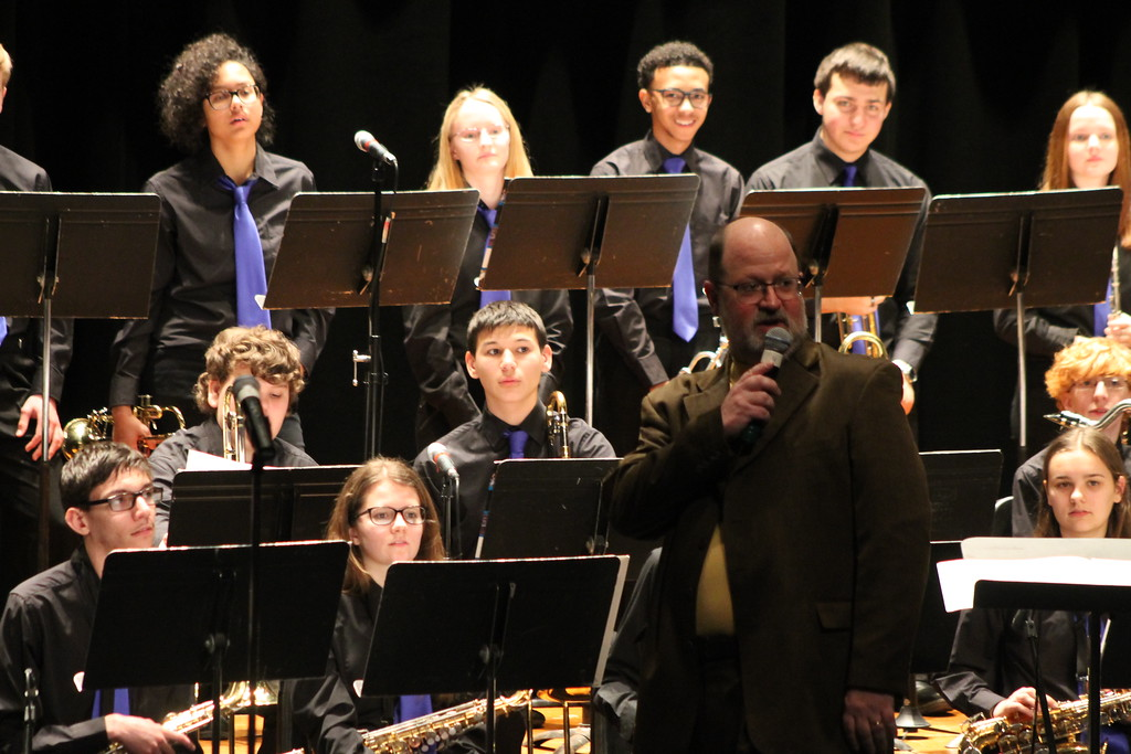 . Wickliffe High School Jazz Band receives feedback from  Kent Engelhardt, member of Jazz Education Network, active performer and compose after performing in the Lakeland Jazz festival at Lakeland Community College on March 16. Kristi Garabrandt - The News-Herald