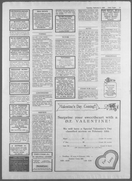 Daily Trojan, Vol. 106, No. 16, February 02, 1988