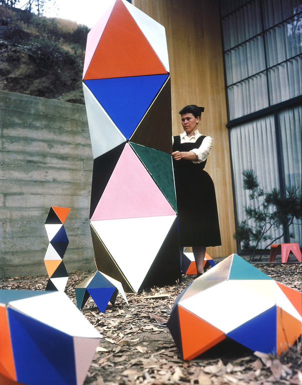 . Ray Eames with prototype of The Toy at the Eames House, Pacific Palisades, c, 1951. Copyright 2013 Eames Office, LLC (eamesoffice.com)