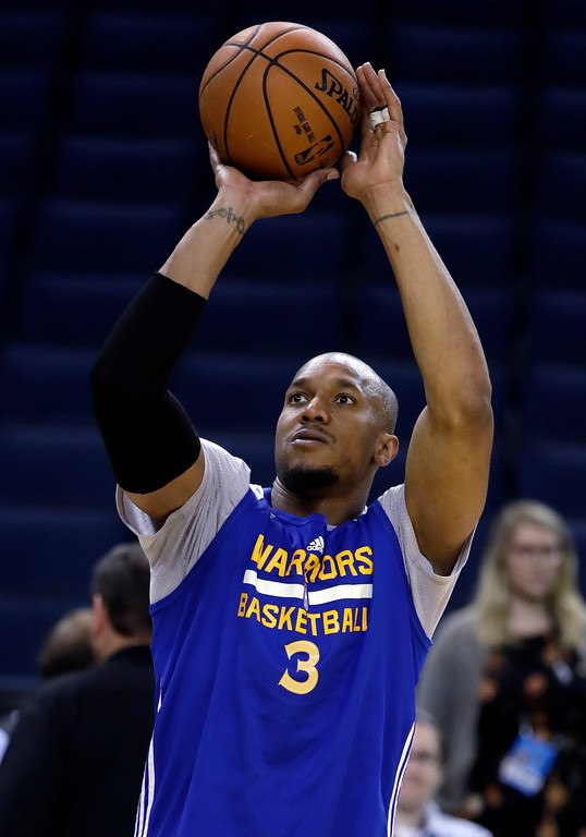 . Golden State Warriors\' David West shoots during an NBA basketball practice, Wednesday, May 31, 2017, in Oakland, Calif. The Golden State Warriors face the Cleveland Cavaliers in Game 1 of the NBA Finals on Thursday in Oakland. (AP Photo/Marcio Jose Sanchez)