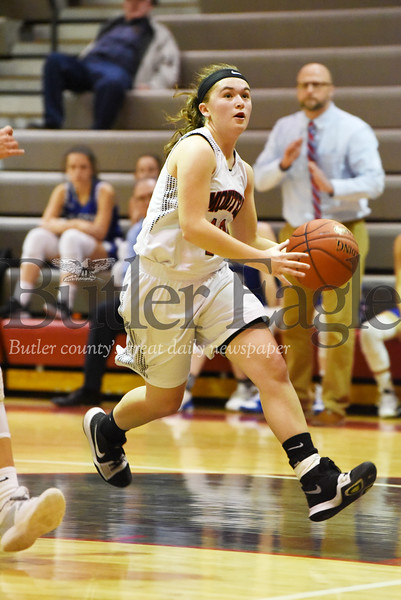 Harold Aughton/Butler Eagle: Moniteau's Abby Rottman, #10, makes a lay up in the second quarter on a break away.