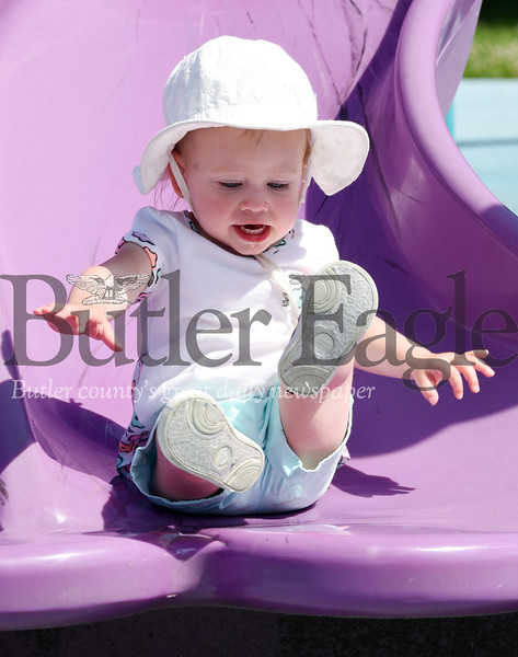 Harold Aughton/Butler Eagle: 19-month-old Sawyer Uhl of Bulter enjoyed a day at Alameda Park with her mother Courtney Uhl Tuesday, June 16, 2020.