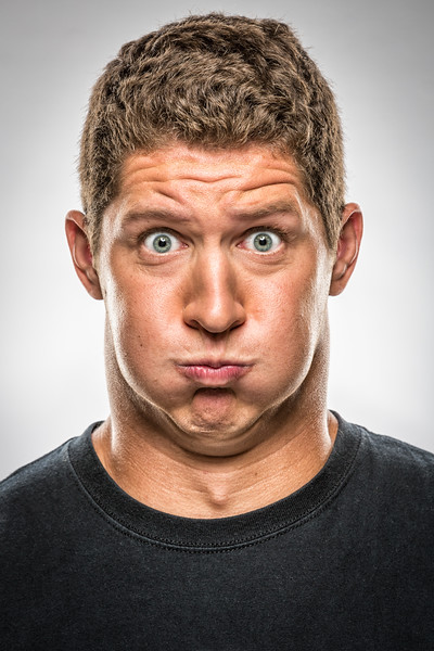 A funny face of a Caucasian man.