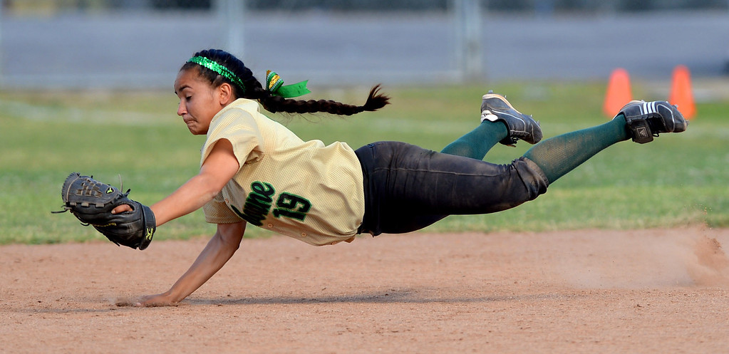 . Narbonne 2nd baseman Lovey Corniel makes a diving catch against Kennedy High School during the CIF City Section Div. I softball semifinal in Granada Hills, Ca May 21, 2013.(Andy Holzman/Staff Photographer)