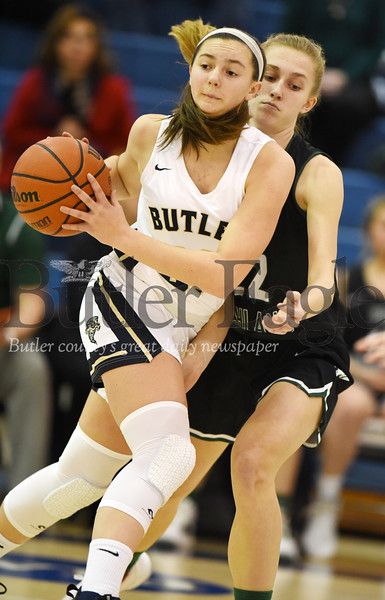 Harold Aughton/Butler Eagle: Butler's Makenna Maier pushes the ball down the court against Pine-Richland Thursday, December 19, 2019.