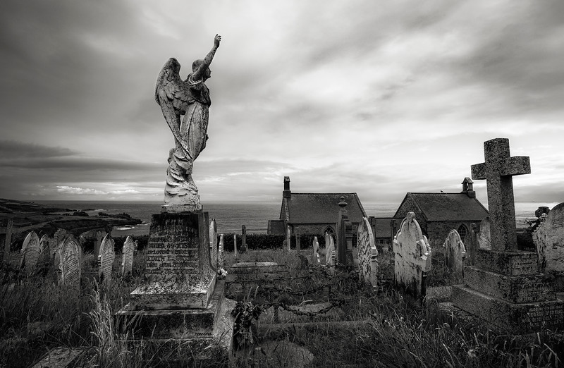 Cemetery in the small fishing village of St Ives.  Cornwall, England, 2018.