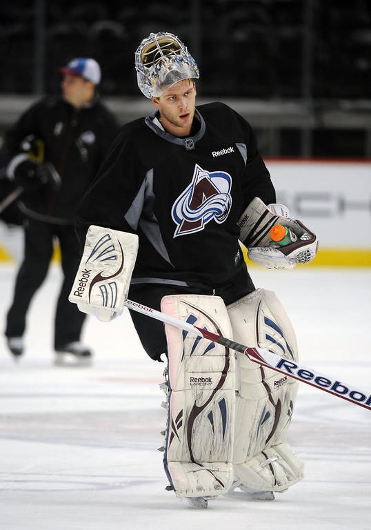 . Avalanche goalie Semyon Varlamov skates towards the net during practice January 17th, 2013.  The Colorado Avalanche hit the ice for the first time this season at the Pepsi Center.  After long months of contract negotiations the season has finally started. Helen H. Richardson, The Denver Post